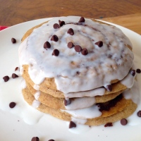 Cinnamon Roll Pancakes with Coconut Cream Icing